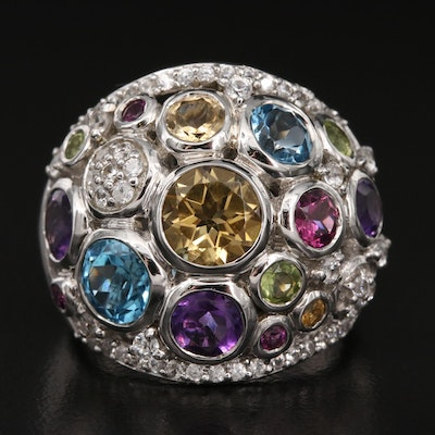Sterling Gemstone Cluster Ring