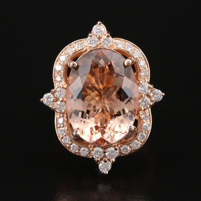 14K Rose Gold 8.11 CT Morganite and Diamond Ring