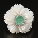 Sterling Mother of Pearl, Beryl and Cubic Zirconia Carved Flower Ring