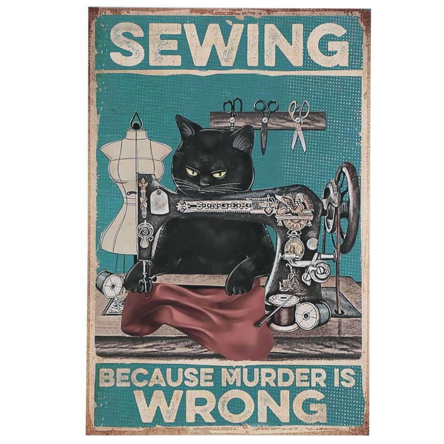 Contemporary Giclée of Sewing Black Cat, 21st Century