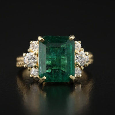 18K 4.50 CT Emerald and Diamond Ring