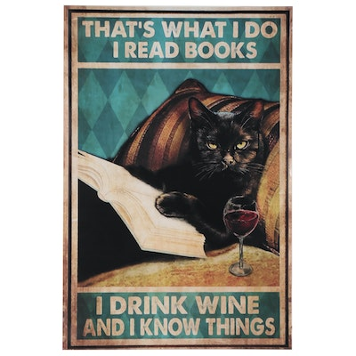 Contemporary Giclée of Black Cat Reading Book, 21st Century