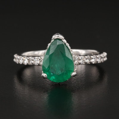 14K 1.62 CT Emerald and Diamond Ring