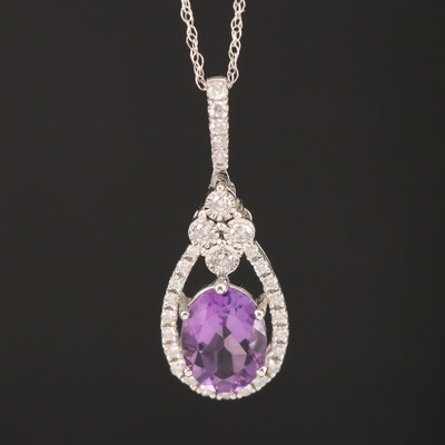 10K Amethyst and Diamond Pendant on 14K Rope Chain