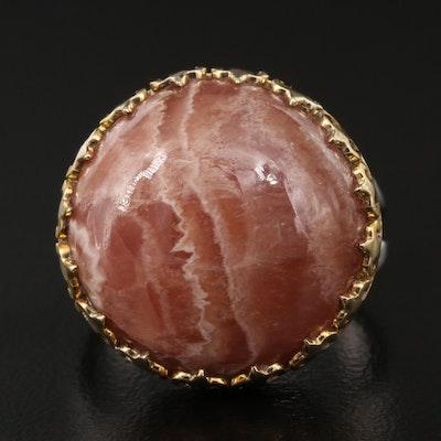 Sterling Rhodochrosite Ring with Fleur-de-Lis Pattern Bezel