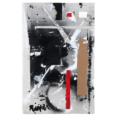 """Robbie Kemper Acrylic Painting with Cardboard """"Red Stripe Corrugated"""""""