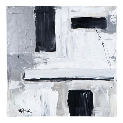 "Robbie Kemper Acrylic Painting ""Silver Black White"""