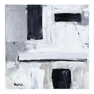 "Robbie Kemper Acrylic Painting ""Silver Black White"""