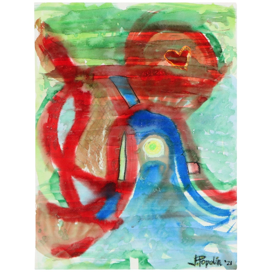 """J. Popolin Abstract Watercolor Painting """"Octopus Love"""""""