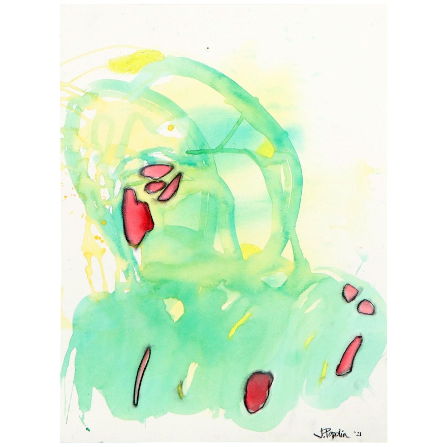 """J. Popolin Abstract Watercolor Painting """"Spring at the Beach"""""""