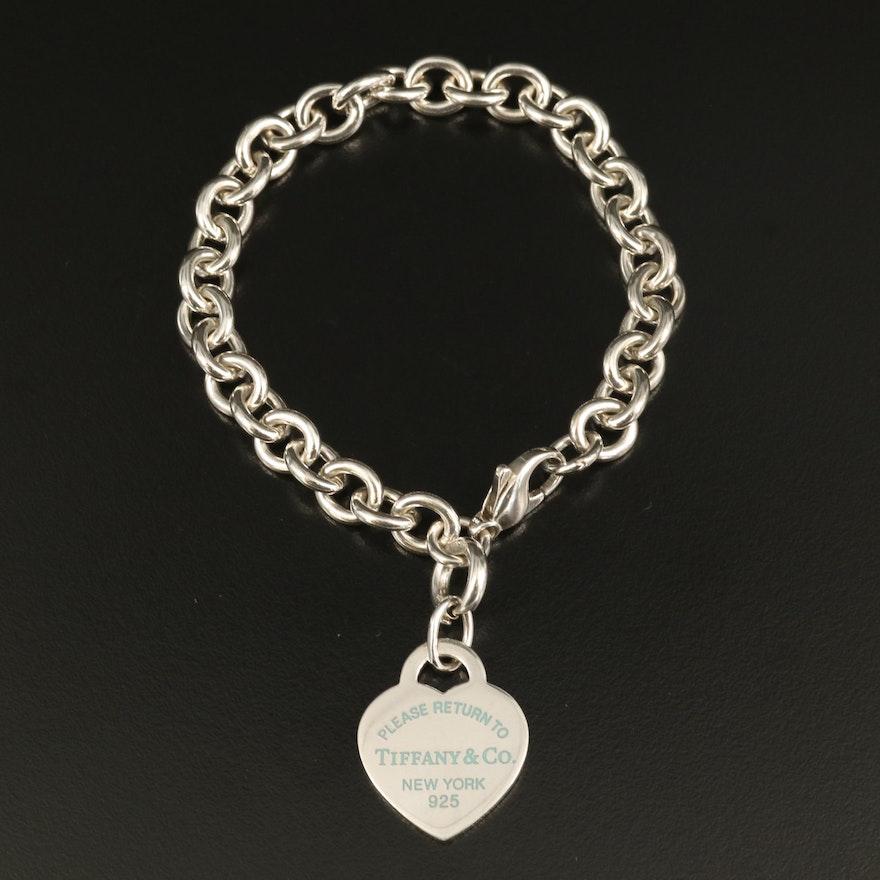 "Tiffany & Co.""Return to Tiffany"" Sterling Silver Heart Tag Bracelet"
