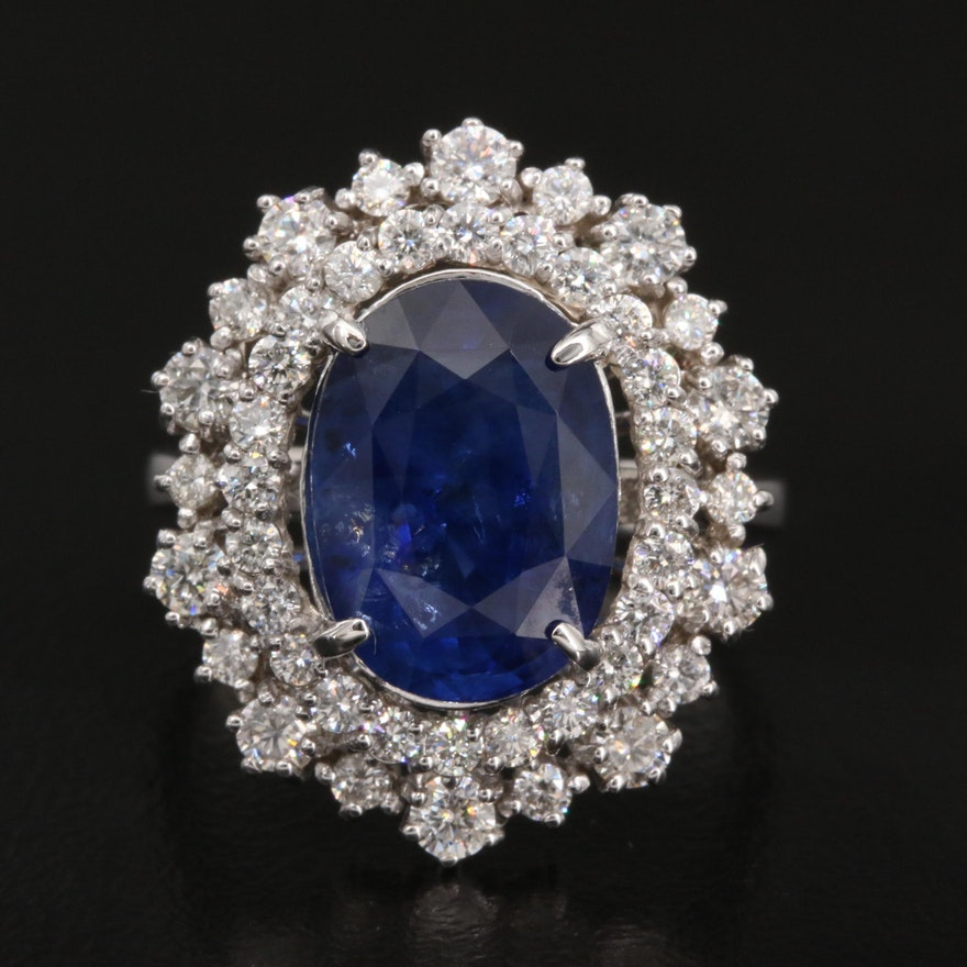 14K 6.39 CT Sri Lankan Sapphire and 1.20 CTW Diamond Ring with GIA Report