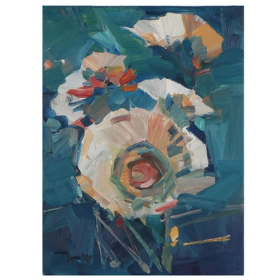"Jose Trujillo Oil Painting ""Blooming Magnolias,"" 2021"