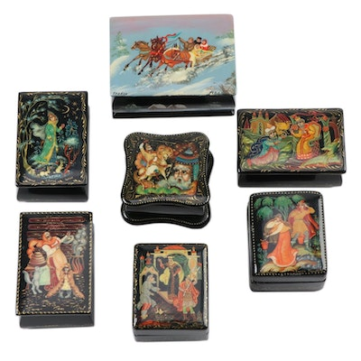 Russian Hand-Painted Fairy Tale Lacquered Boxes, Late 20th Century