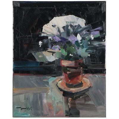 """Jose Trujillo Oil Painting """"White Chrysanthemum,"""" 2021"""