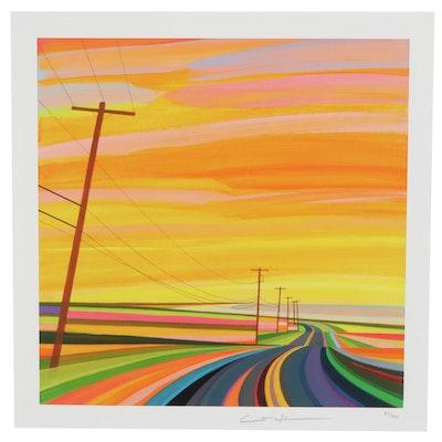 """Grant Haffner Modernist Street Scene Giclée """"Sunset on Montauk Highway"""""""