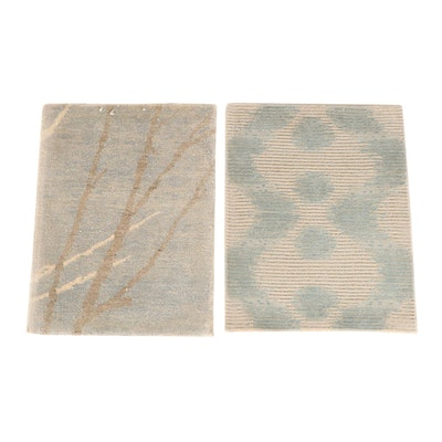 1'7 x 2' Hand-Knotted Tibetan Wool and Silk Accent Rugs from The Rug Gallery