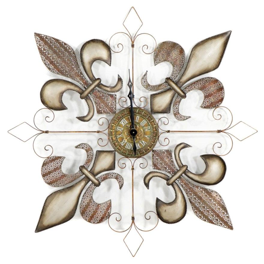 Metal Fleur-de-Lis  Wall Clock, Contemporary