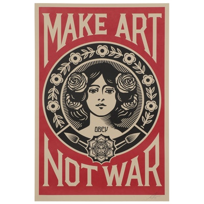 "Shepard Fairey Offset Print ""Make Art Not War,"" 2021"