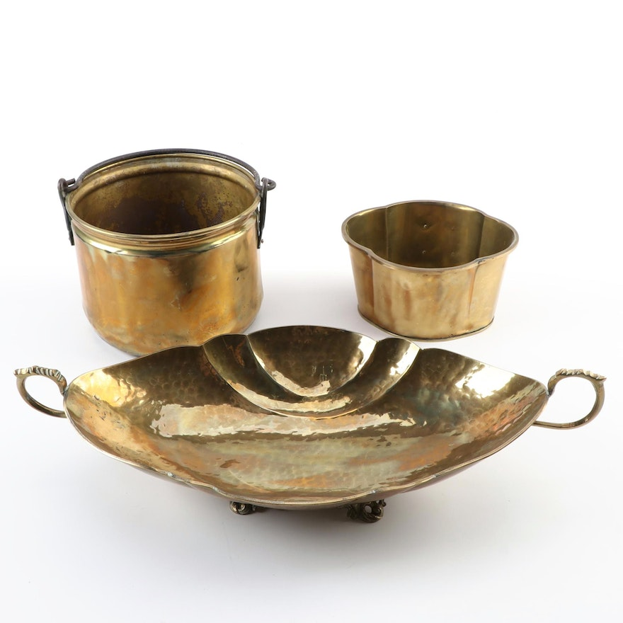 Brass Leaf Shaped Centerpiece Bowl and Other Planters, Late 20th Century