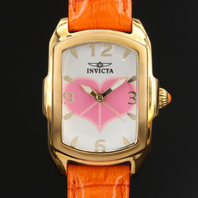 "Invicta ""Lupah Peace & Love"" Gold Tone Quartz Wristwatch"