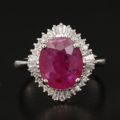 Platinum 2.82 CT Ruby and Diamond Ballerina Ring with GIA Report