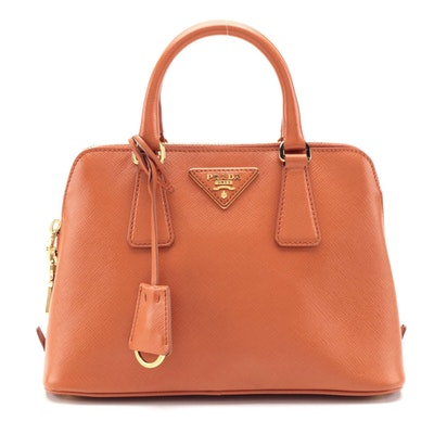 Prada Papaya Vernice Two-Way Mini Bag in Saffiano Cuir Leather
