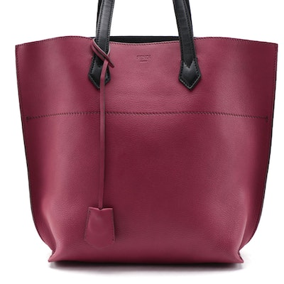 Fendi All In Tote Bag in Raspberry/Black Leather