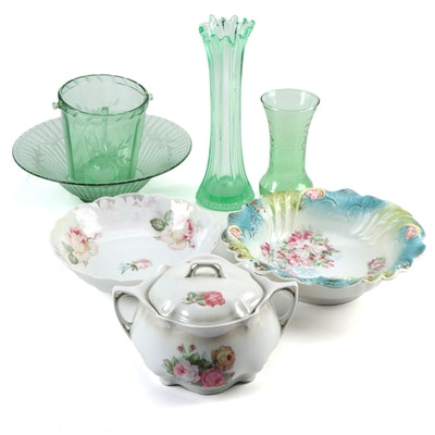 Green Depression and Other Glass with German China, Early to Mid 20th Century