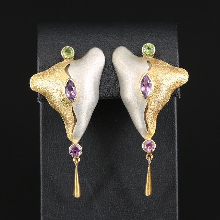 Studio Sterling Silver Amethyst, Peridot and Rhodolite Garnet Earrings