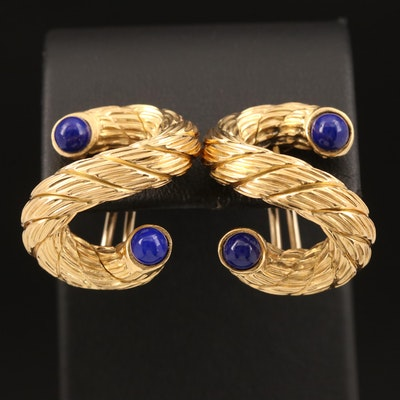 Carlo Weingrill 18K Lapis Lazuli Serpentine Rope Earrings