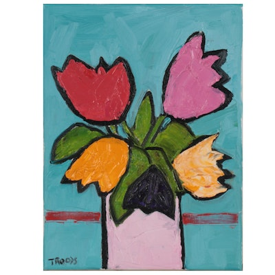 "Patricia Nolan-Brown Oil Painting ""Tulip POP!"" 2021"