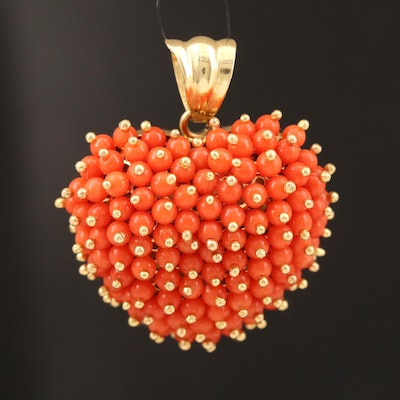 18K Coral Puffy Heart Pendant