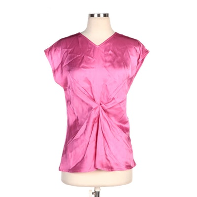 Helmut Lang Pink Double Satin Twisted Front Blouse