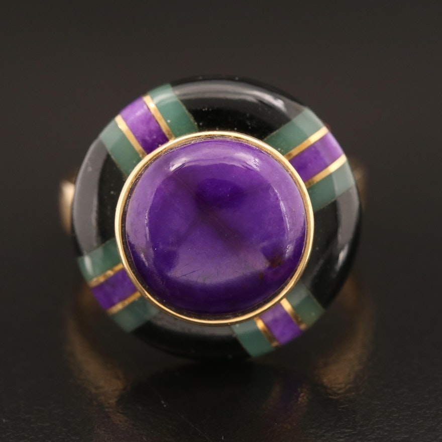 18K Sugilite, Chalcedony and Black Onyx Inlay Ring