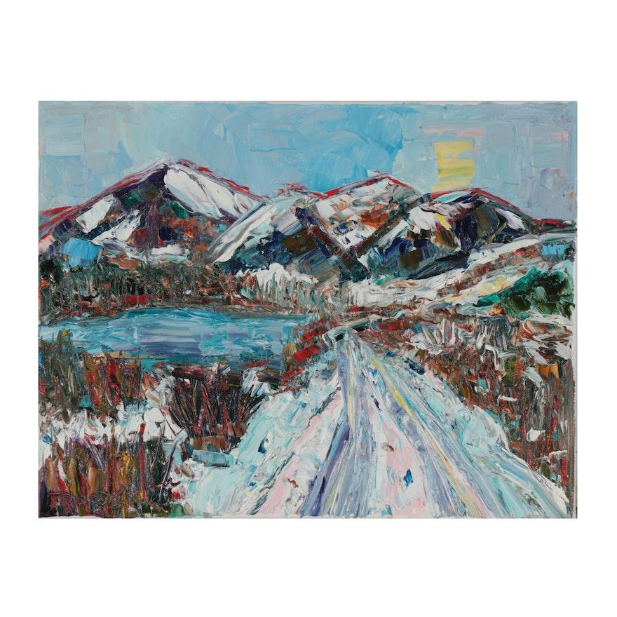 "Patricia Nolan-Brown Oil Painting ""Mountain Serenity,"" 2021"