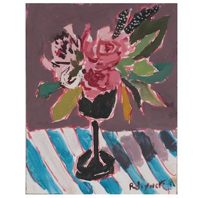 Robert Joyner Abstract Floral Still Life Mixed Media Painting