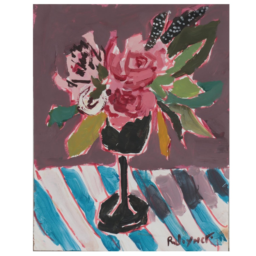 Robert Joyner Abstract Floral Still Life Mixed Media Painting