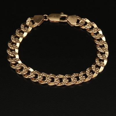 Italian 14K Textured Curb Link Bracelet