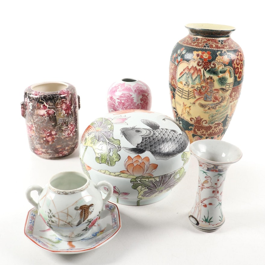 Chinese Satsuma Style Vase and Other Vases and Tableware