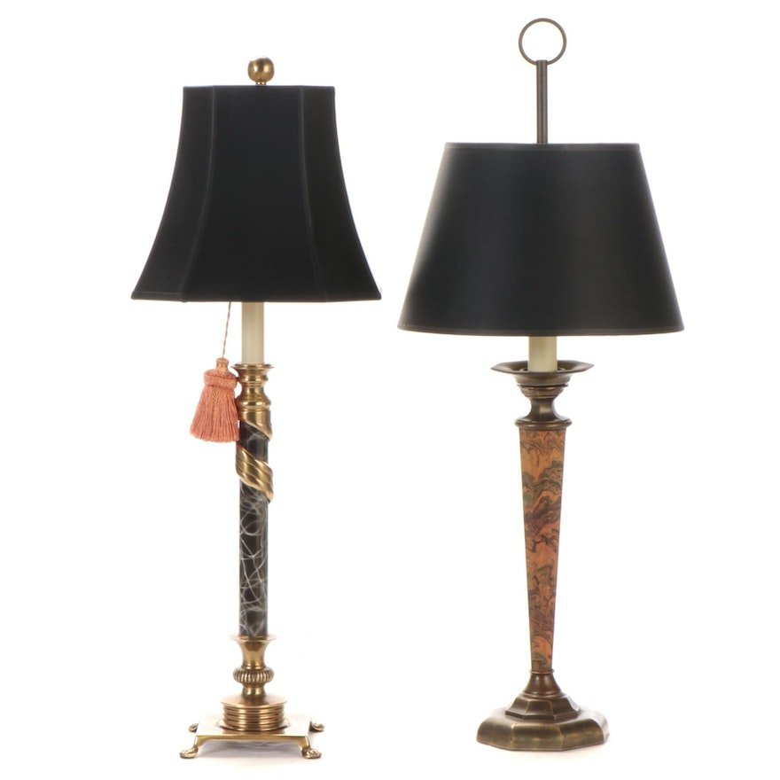 Neoclassical Style Marbleized Composite and Metal Table Lamps, Contemporary