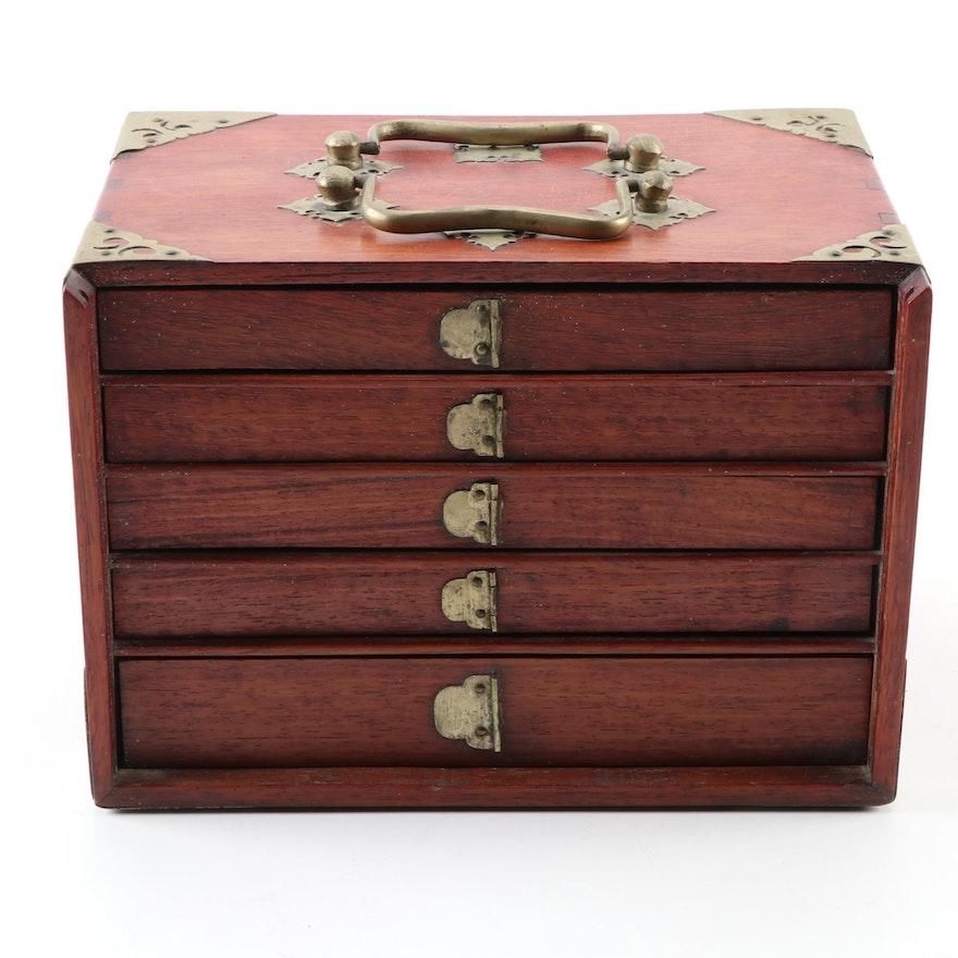 Antique Bone and Bamboo Mahjong Game Set in Ornamental Box