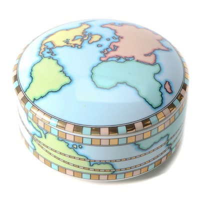 Tiffany & Co. Porcelain World Map Trinket Box