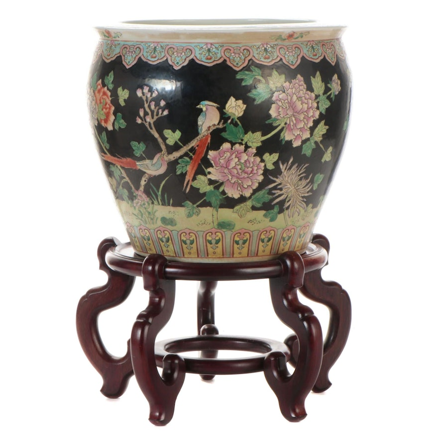 Chinese Famille Noir Porcelain Fishbowl Planter on Stand,
