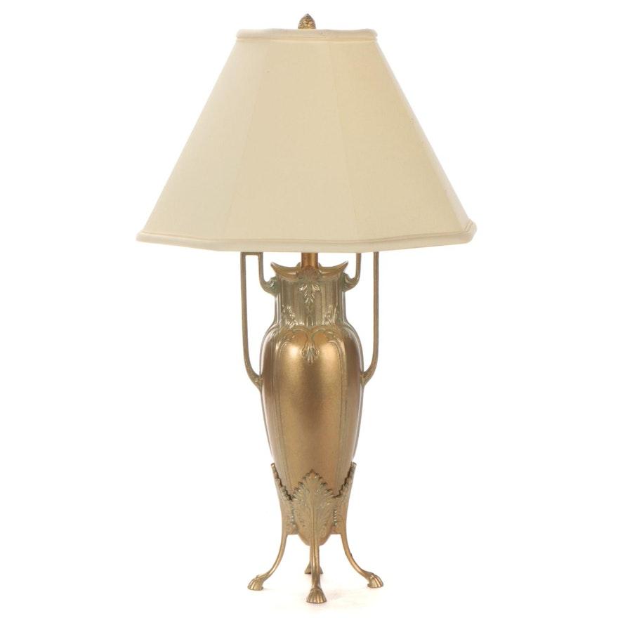 CCI Late Art Nouveau Style  Brass Urn Table Lamp