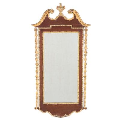 Federal Style Mahogany Partial Gilt Broken Arch Wall Mirror, 19th Century