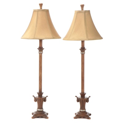 Pair of Umber Colored Resin and Metal Console Lamps