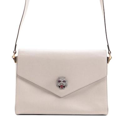 Gucci Animalier Medium Shoulder Bag in Off-White Calfskin Leather