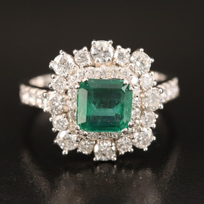 14K Emerald and 1.20 CTW Diamond Ring