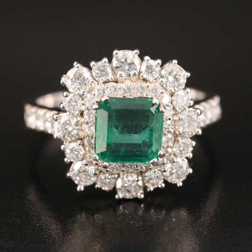 14K Emerald and 1.20 CTW Diamond Ring